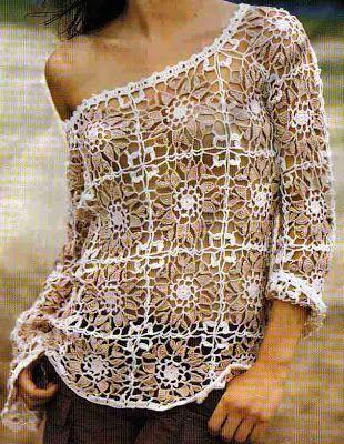 two color square motif blouse