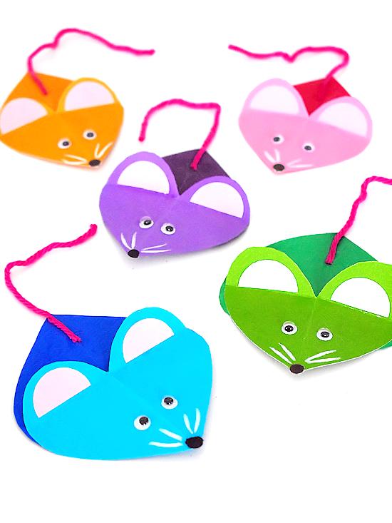 Paper Heart Mice Craft