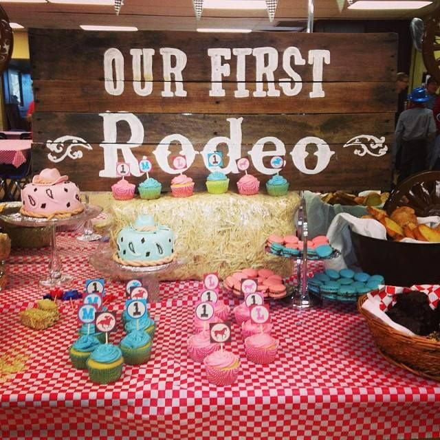 Cowboy Themed First Birthday Party Boy girl twins Western theme