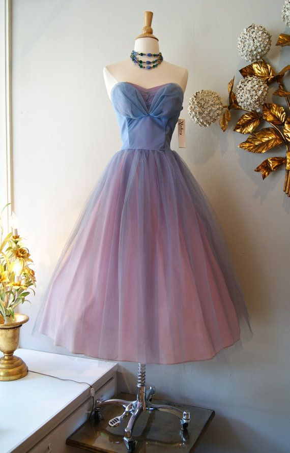 Vintage 50's Tulle Dress // 1950's Strapless Prom Dress HYDRANGEA ...