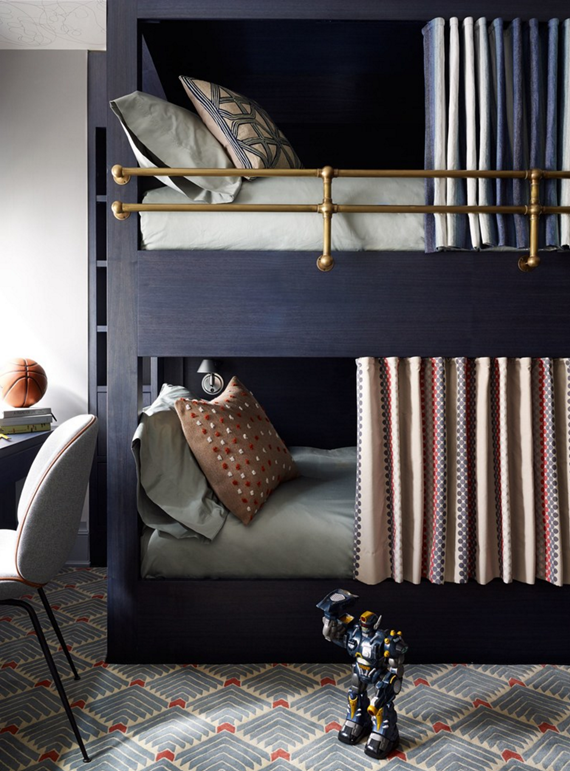 I Love This Navy Bunks With Privacy Curtains Brass Rails In A