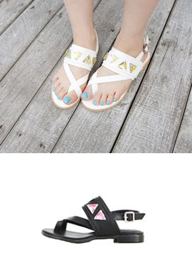 Cross Strap Sandals with Jewel Overlay from miamasvin.net // $52.00