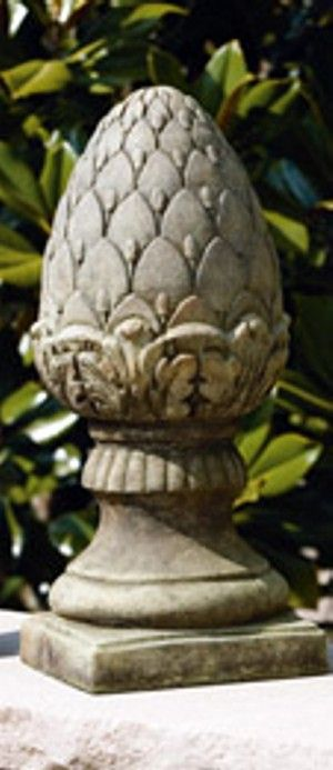 Garden Finial   Lawn Ornament   Large Pineapple Statue, 18.5in H X 8in SQ B  Concrete