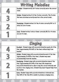 Elementary music class rubrics for essays