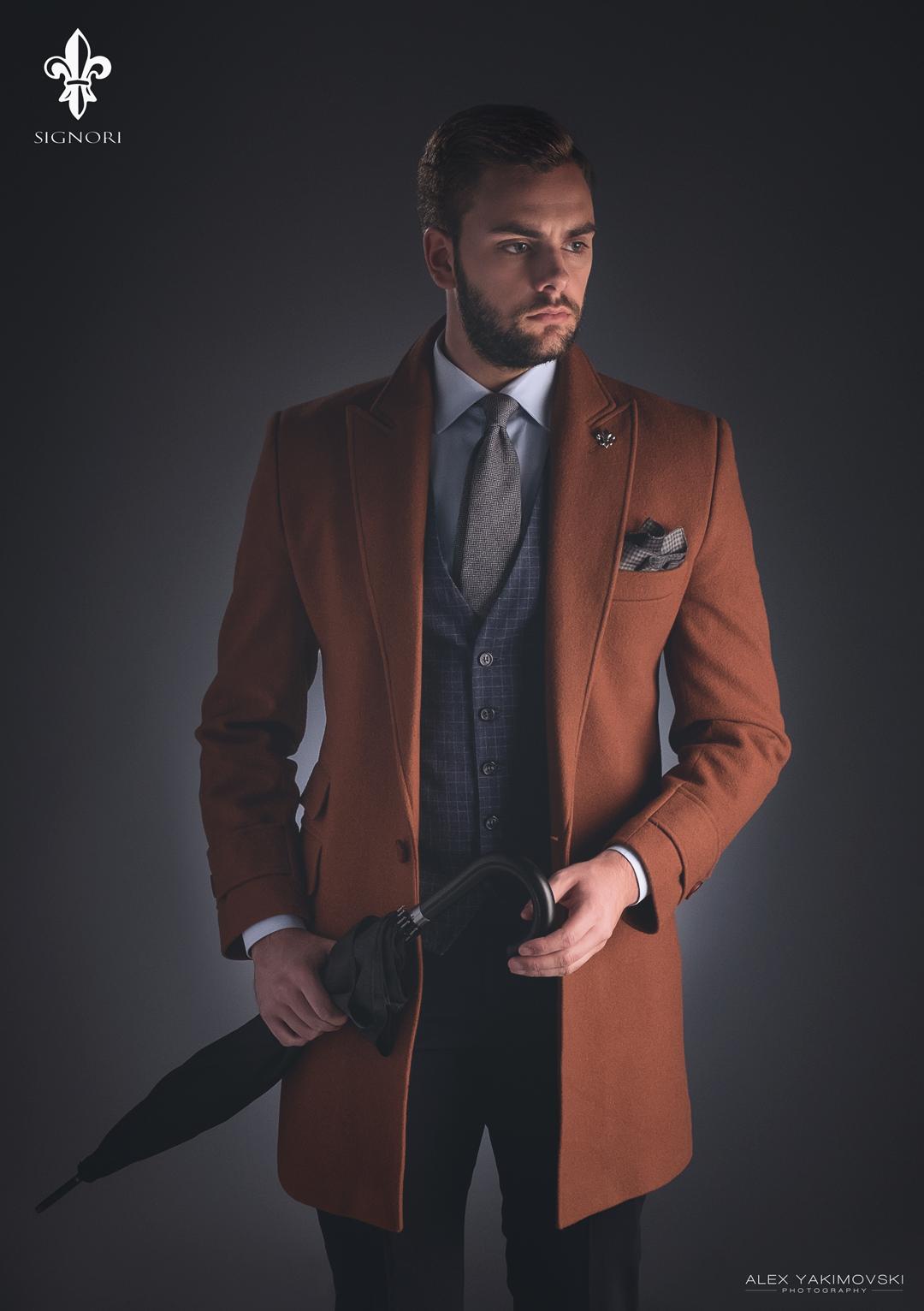 Mens suit overcoat