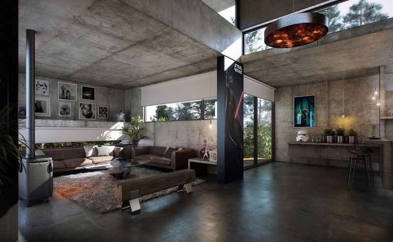 Elegant Architecture, Stunning Concrete Home Designs And Transparent Glass Sliding  Door Also Cream Sofa Facing Glass Table Over Hairy Rug And Tube Pendant  Lamp: ...