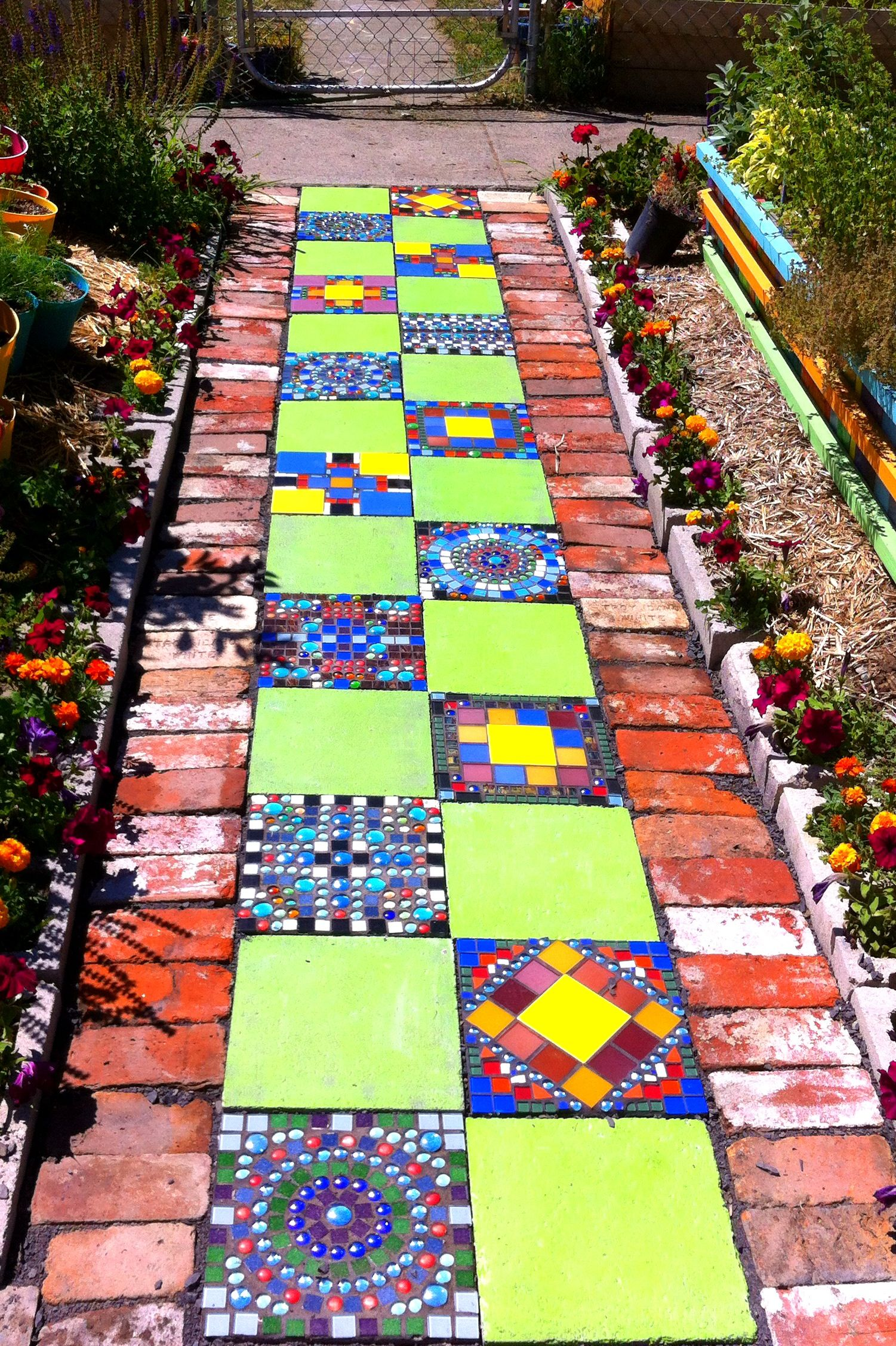 Mosaic and brick paver path i did for my front yard garden for Garden mosaic designs