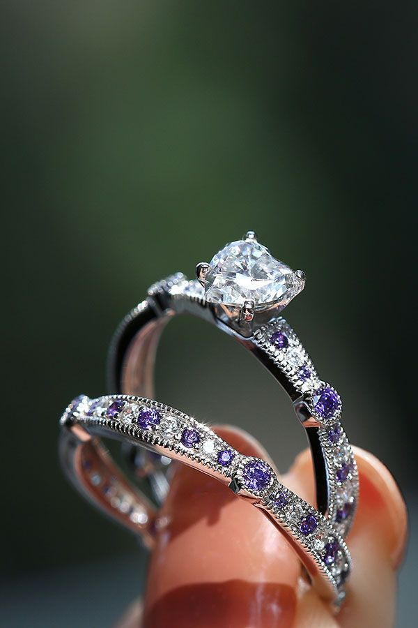 Heart Cut Cubic Zirconia And Amethyst Stones 925 Sterling Silver Womens Wedding Ring Set
