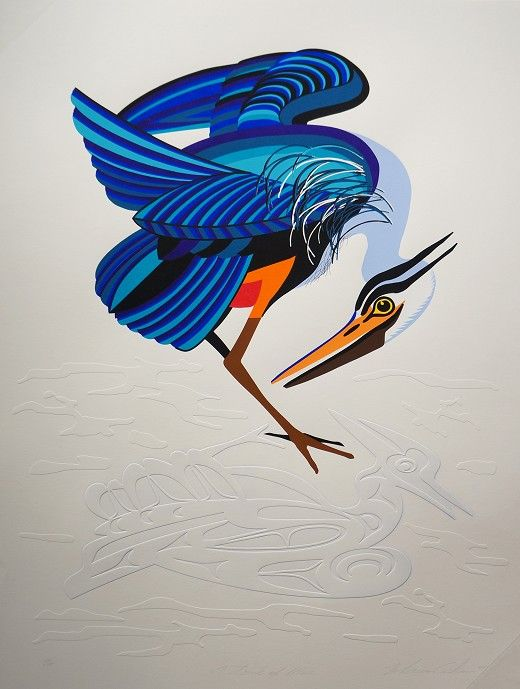 """A Touch of Blue Marvin Oliver Quinault/Isleta Pueblo  Embossed Silkscreen 21.5""""W x 28""""H  $300"""