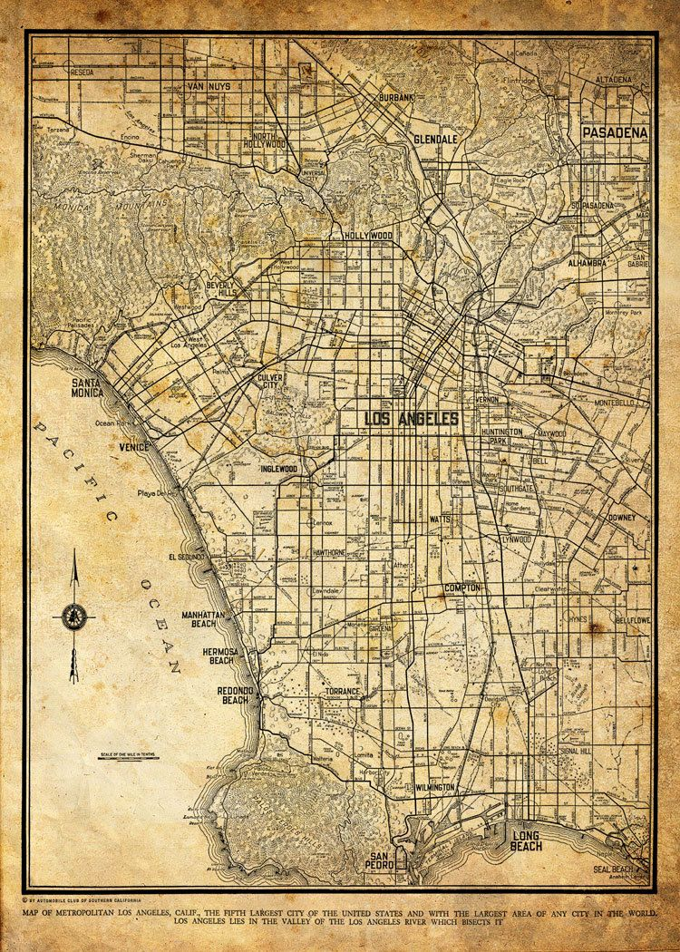 1944 los angeles city street map vintage 13x19 sepia grunge print 1944 los angeles city street map vintage 13x19 sepia grunge print poster via etsy gumiabroncs Image collections