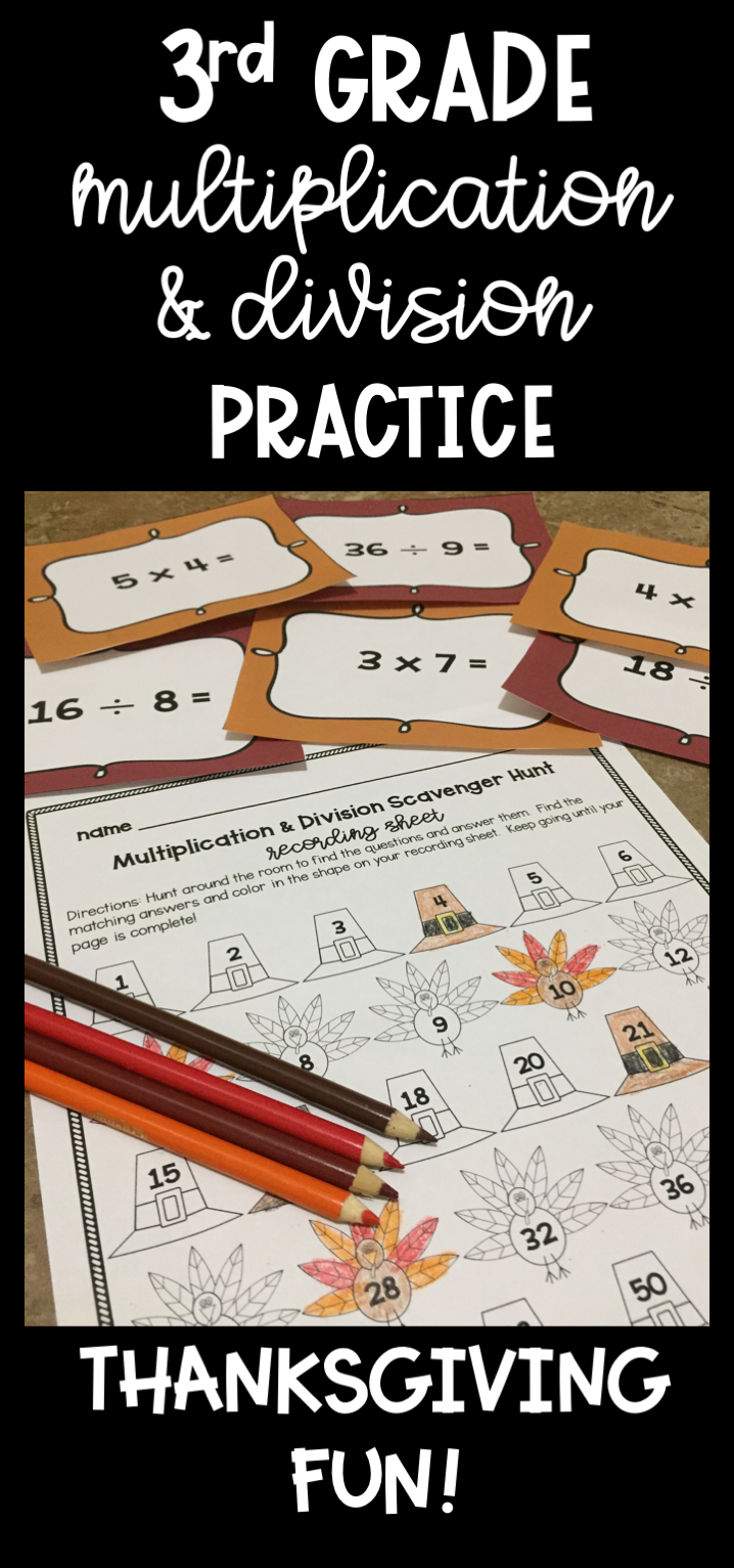 Thanksgiving Multiplication and Division Scavenger Hunt ...