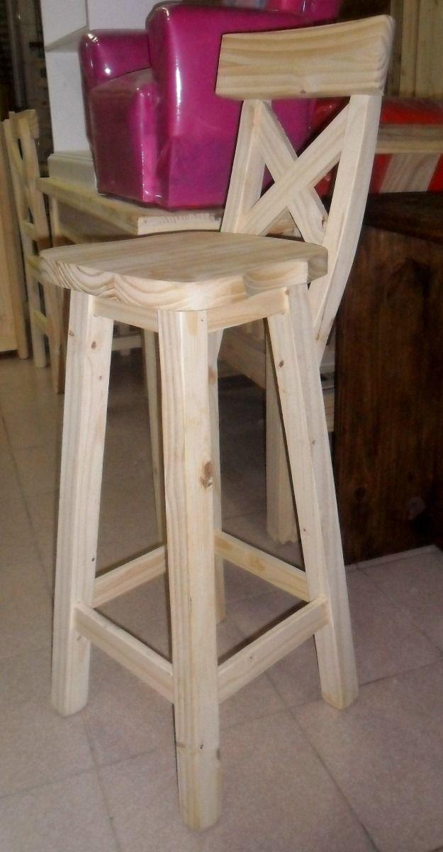 Resultado de imagen para bancos altos de madera con for Bancos de bar de madera