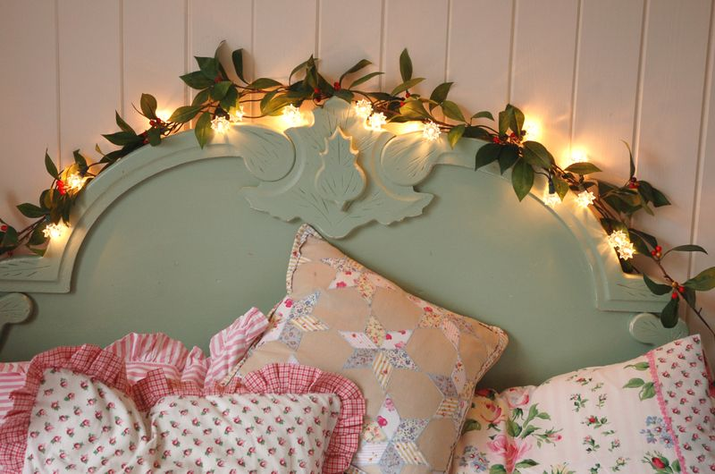 3 lights and garland over headboard vintage style Pinterest