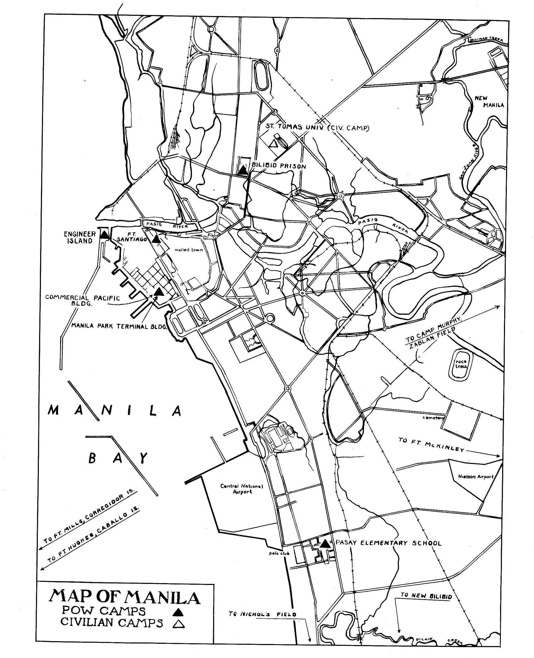 pow c s in manila wwii maps of the philippines prisoners of Manila Shopping pow c s in manila