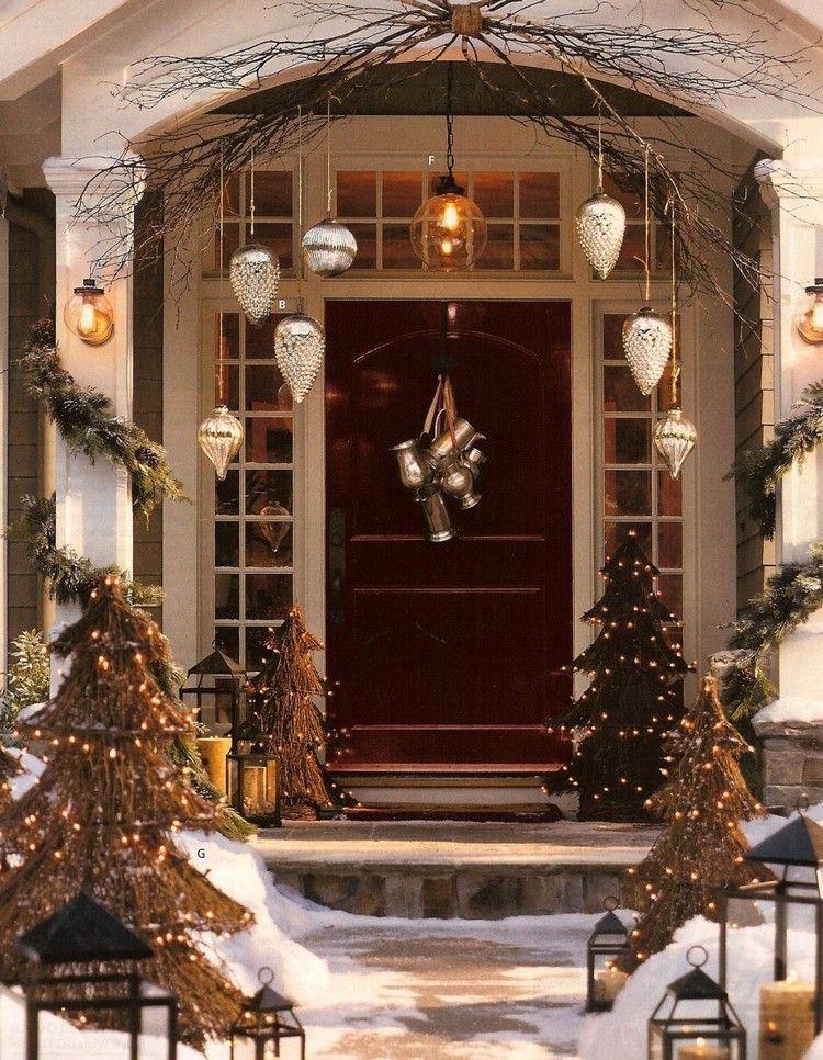 Décoration Noël pour la porte d'entrée en 20 idées faciles à réaliser (avec images) | Decoration ...