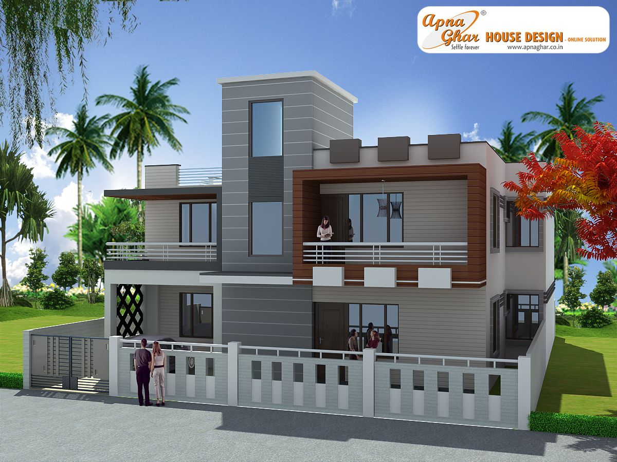 3 bedroom modern duplex 2 floor house design area 285 for Building front design