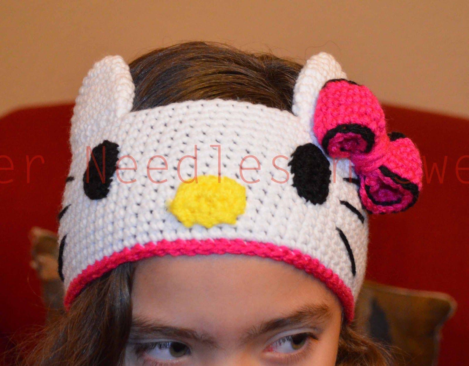 Diadema Hello Kitty en crochet | vinchas crochet | Pinterest | Mütze ...