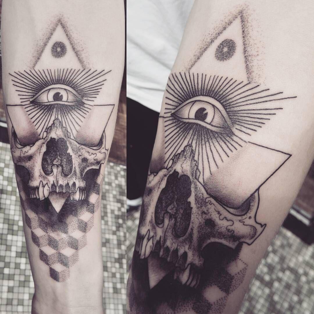 Skull Tattoo By Alex M Krofchak Geometry All Seeing Eye Electronic Circuit Board Full Sleeve Blackwork Male Illuminati Dotshaded Dotshading