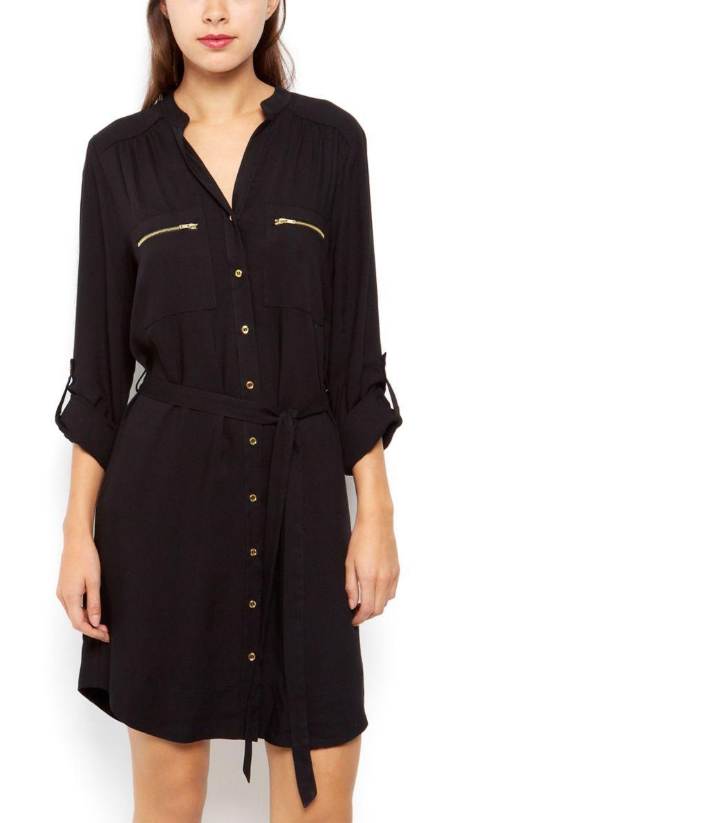 Robe chemise noire avec poche avant zippée et liens à nouer à la taille    New Look 52f0de8c3df2