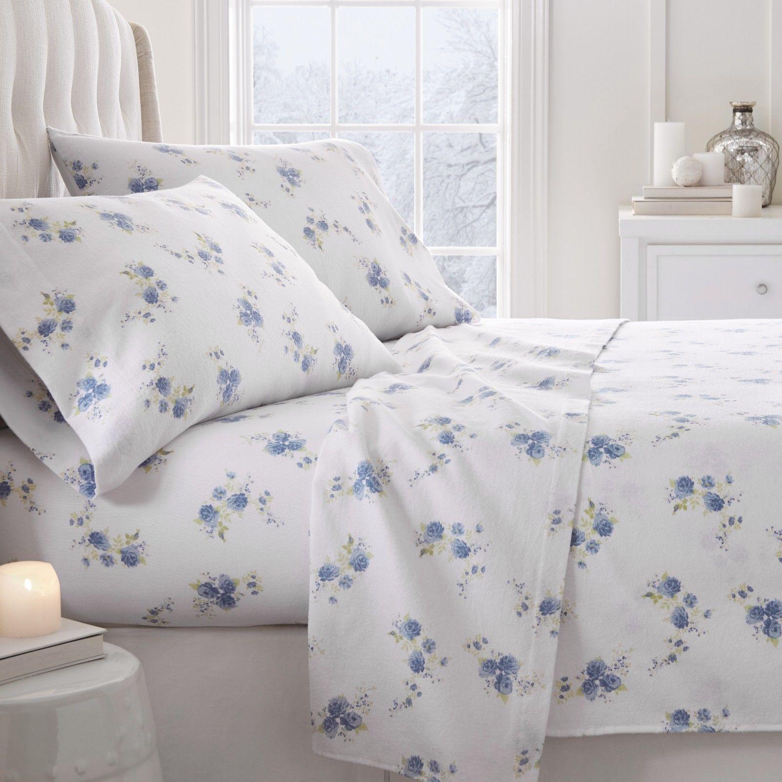 Ultra Soft Premium Rose Pattern 4 Piece Flannel Bed Sheet