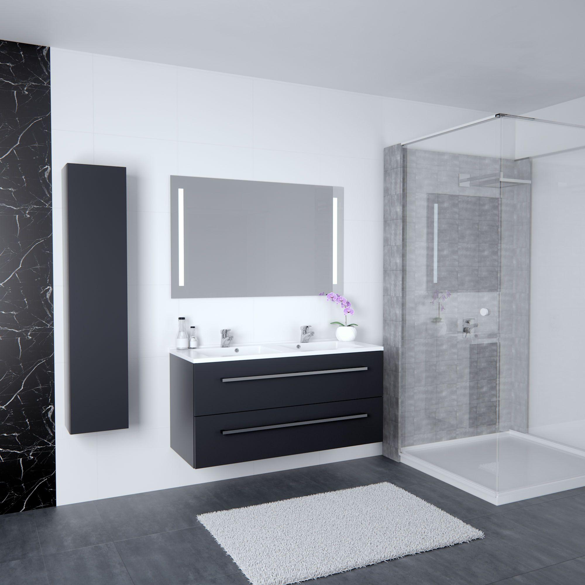 meuble salle de bain haut de gamme mobilier tiroirs grands rangements miroir rtro - Meuble Salle De Bain Haut De Gamme