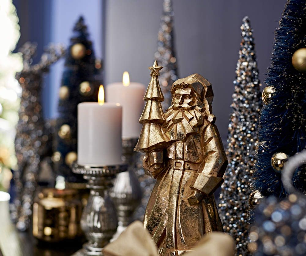 Winter Wonder Lane Gold Santa Tabletop Decor Holiday