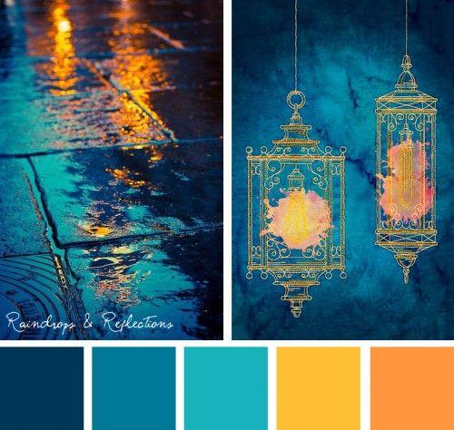Wandfarben Farbpalette Gelb: Raindrops & Reflections (StitchPunk