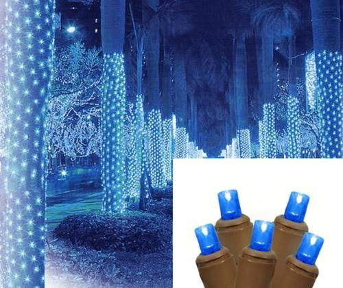 2 x 8 blue led net style tree trunk wrap christmas lights brown wire