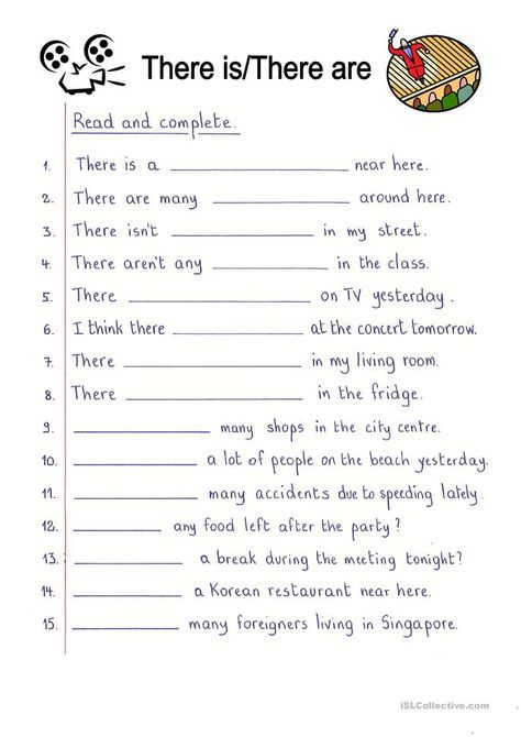 Read And Complete - There Is/There Are English Worksheets For Kids,  Reading Comprehension Lessons, Teaching English Grammar