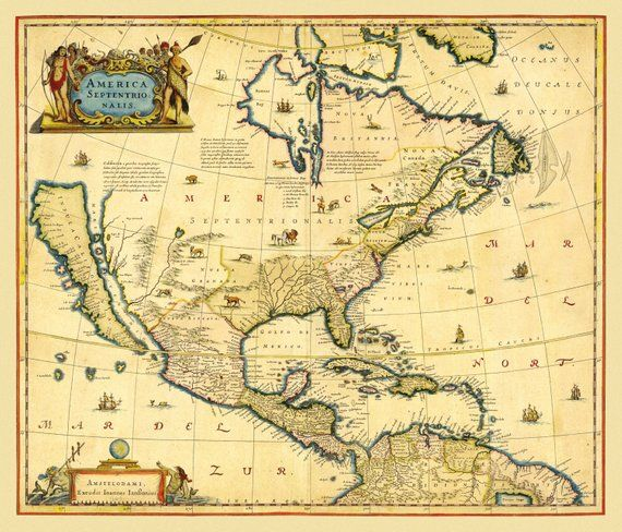 Vintage Map - North America 1647 | Products | Map, Old maps ... on davis islands map, prince islands map, king islands map, hall islands map, berry islands map,