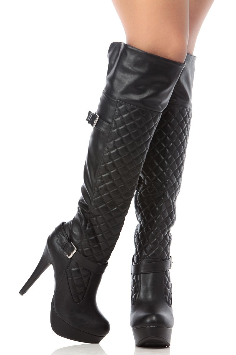 Lot Faux Leather Quilted Knee High Thigh Heels Sexy Fringe Suede Platform Boots
