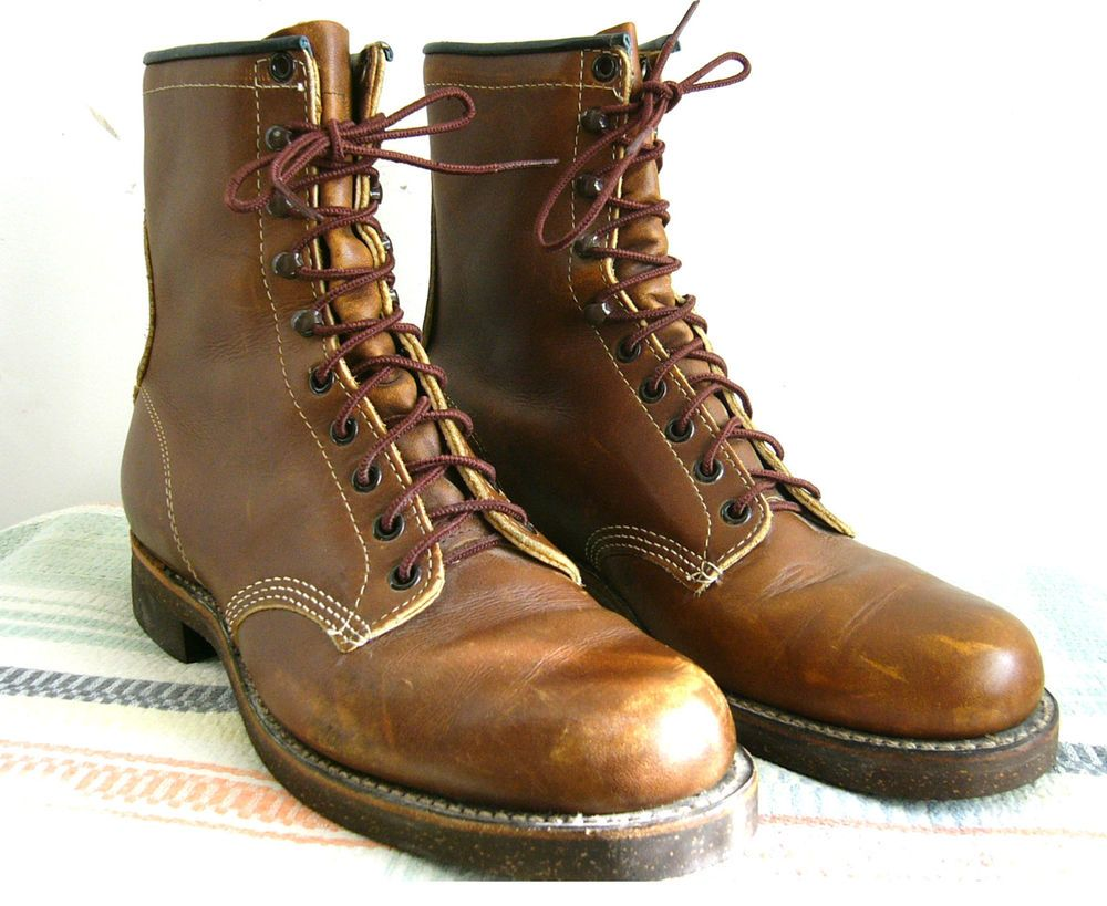 vtg CHIPPEWA Original Logger Work Service Boots~Early Woven Label ...