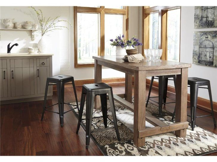 Rustic wood and metal dining set