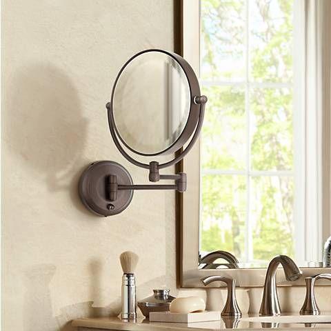 Cordless Led Pivoting Satin Nickel Wall Mount Mirror P4739 Lamps Plus Wall Mounted Mirror Wall Mounted Tv Mirror