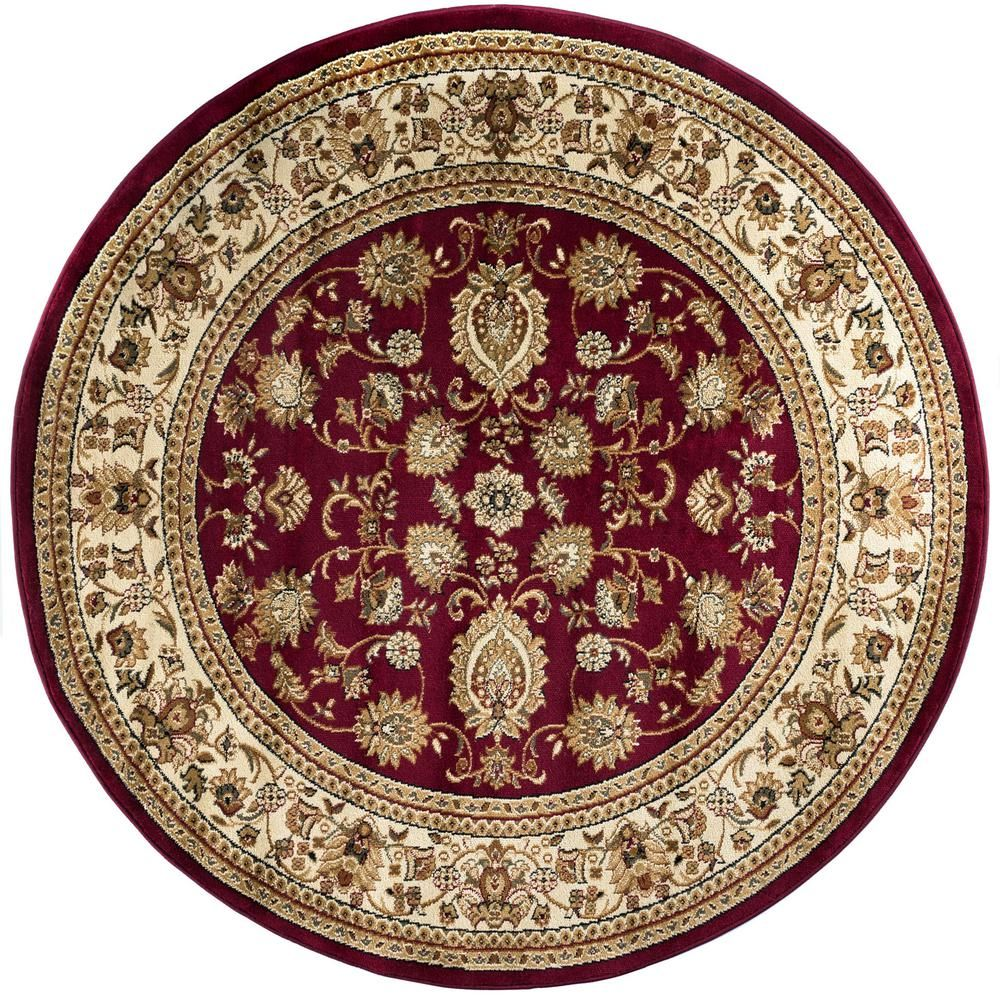 Tayse Rugs Sensation Red 5 Ft 3 In Traditional Round Area Rug