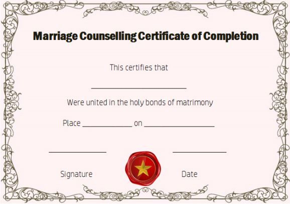 Free Marriage Counseling Certificate Of Completion