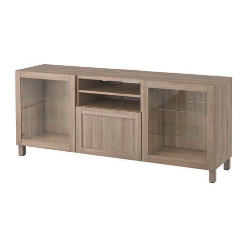 "BESTÅ TV bench with drawers - Hanviken/Sindvik gray stained walnut eff clear glass, drawer runner, soft-closing, 70 7/8x15 3/4x29 1/8 "" - IKEA"