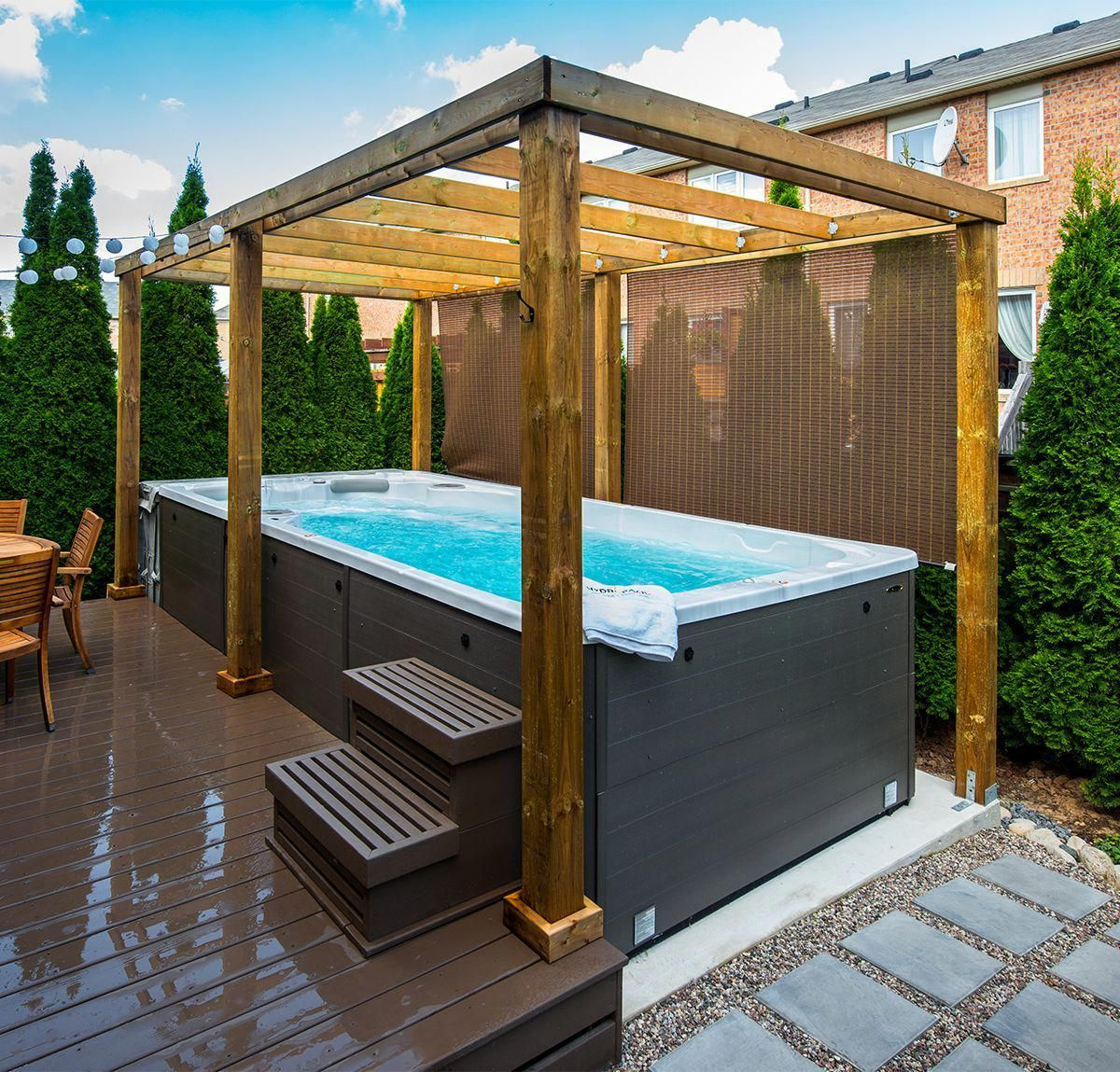 We Love The Look Of A Cedar Pergola Over A Swim Spa They Also Let