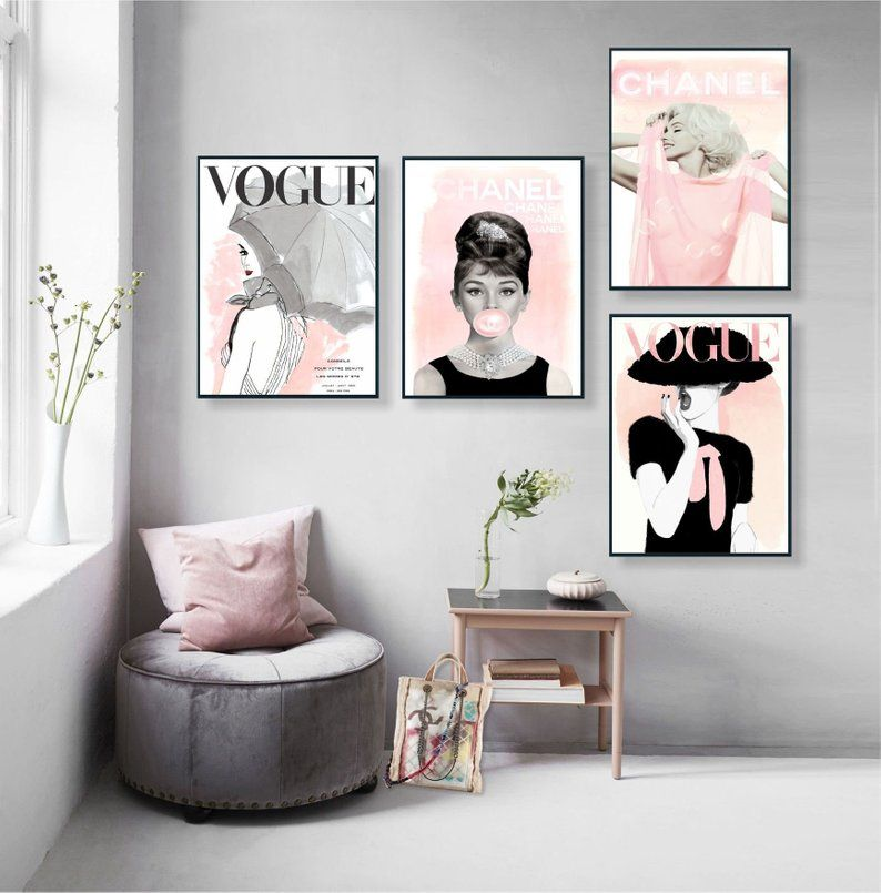 Vogue Posters Audrey Hepburn Print Set Of 4 Fashion Wall Etsy Decor Decor Styles Room Decor