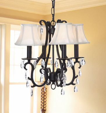 Crystal Iron Chandelier With Shades For Hallway Size H15 W18 4 Lights