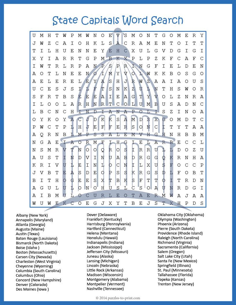 US Geography Worksheet State Capitals Word Search FUN