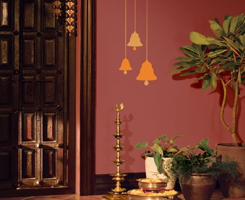 those bells in metallic paint | india apartment - wall paint
