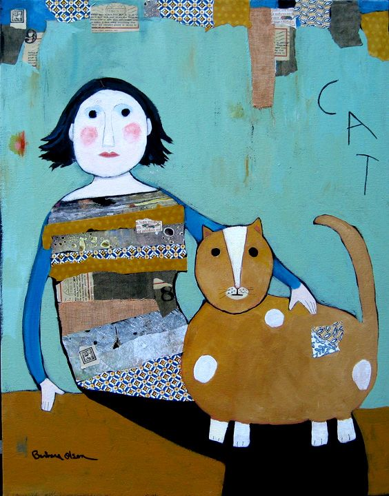 Cat © Barbara Olsen Acrylic/collage on canvas 28x22 Barbara Olsen,com