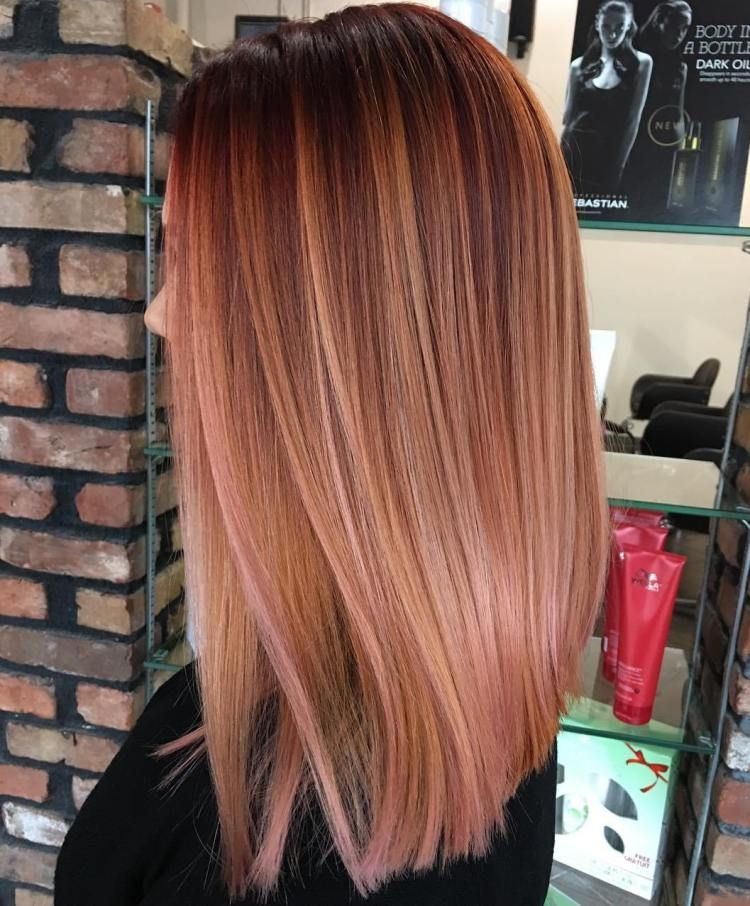 Caramel And Subtle Pink Balayage Straight Hair with Rosy Highlights