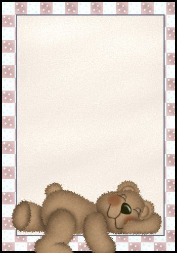 SLEEPING TEDDY BEAR BORDER | teddy bears | Note paper ...