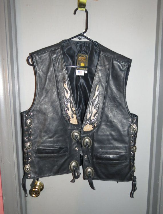 fe55a09fdd7 Vintage Gypsy Leather Black Biker Motorcycle Vest with Snakeskin Inserts  Size 42 Conchos Mens or Womens Unisex