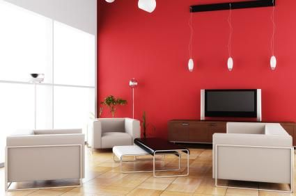 Modern Living Room With A Bold Red Accent Wall Get The Look Dunn