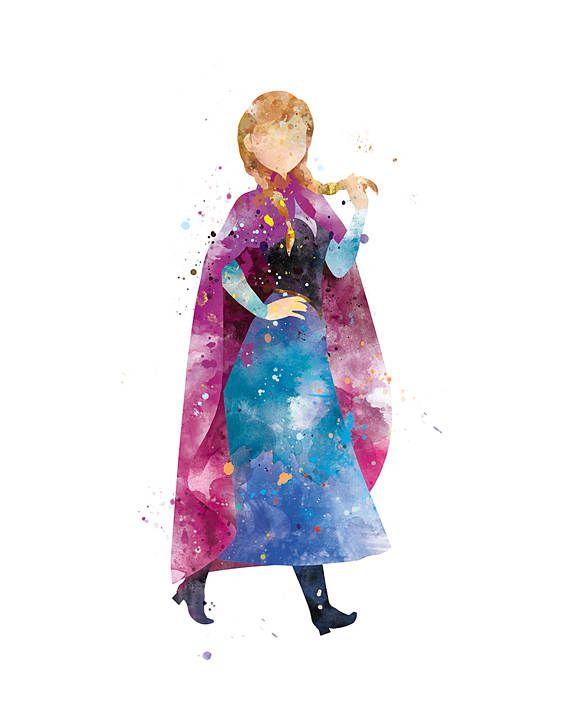 Princess Anna Watercolor Art Print Frozen Art Disney Wall Art