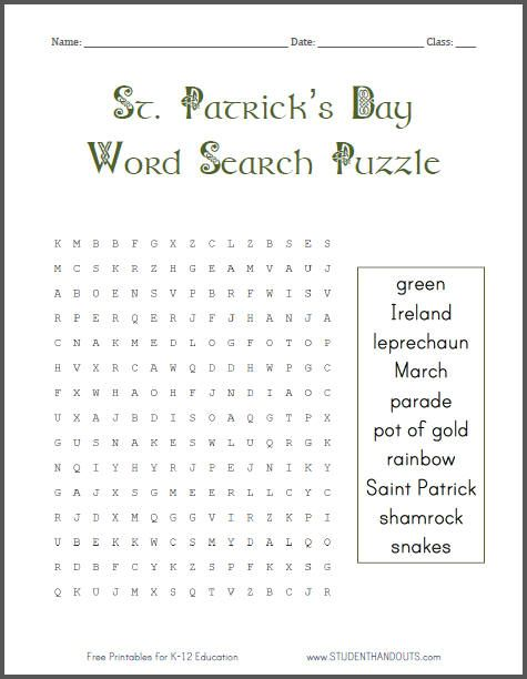graphic about St Patrick Day Puzzles Printable Free known as St. Patricks Working day Phrase Appear Puzzle for Grades 1-4: Totally free in direction of