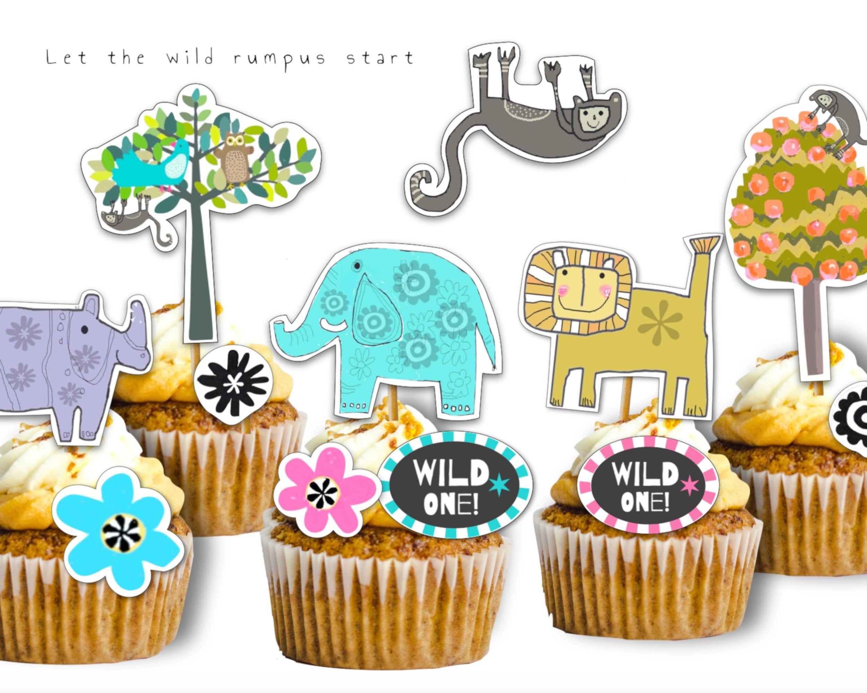 wild one cake topper printable
